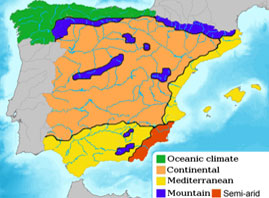 Climat map in Spain